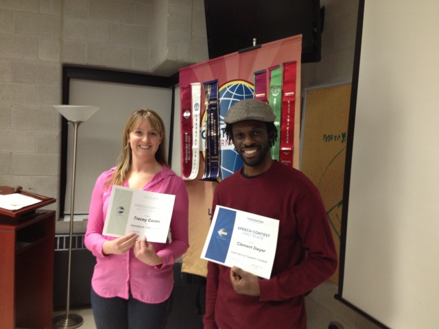 Tracey & Clem: Contestants for the Club International Speech Competition-- 2014